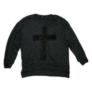 Forever 21 Studded Cross High Low Sweatshirt